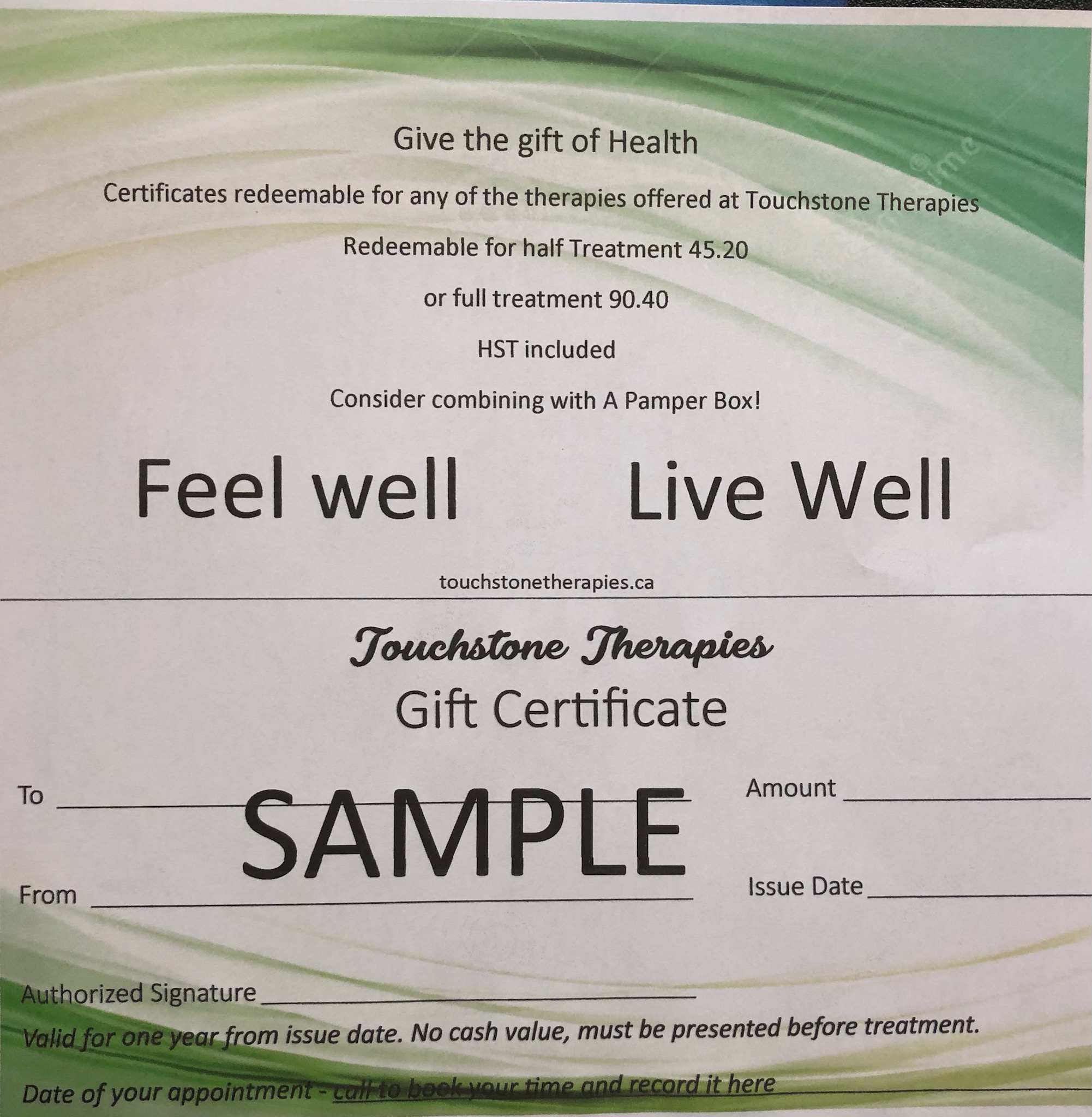 Gift Certificate (Touchstone Therapies) Image